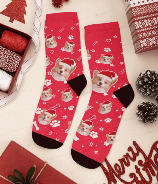 Custom Dog Face Christmas Socks – Personalized Dog Socks