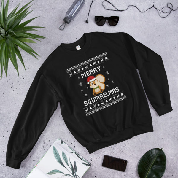 Black Merry Squirrelmas Unisex Squirrel Ugly Christmas Sweater
