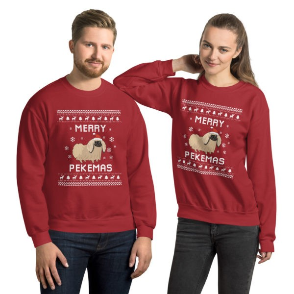 Pekingese Dog Ugly Christmas Sweater, Peke Ugly Xmas Sweatshirt