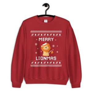 "Lion Ugly Christmas Sweater ""Merry Lionmas"""