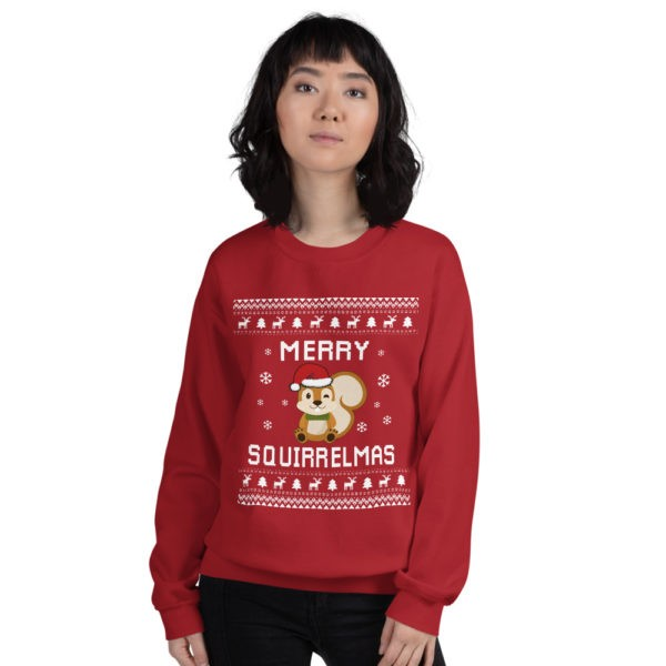 Red Unisex Squirrel Ugly Christmas Sweatshirt