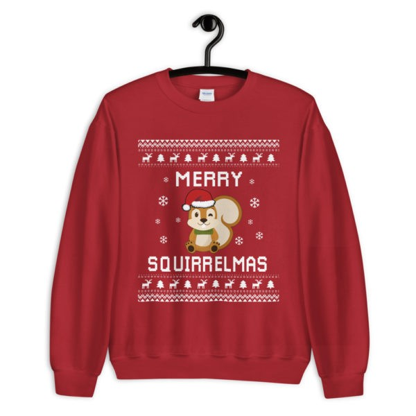 Red Women's Squirrel Ugly Christmas Sweater Merry Squirrelmas