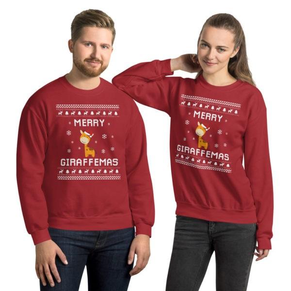 Red Unisex Giraffe Ugly Christmas Sweater Merry Giraffemas