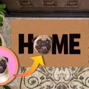 Custom Dog Face Photo HOME Welcome Doormat Housewarming Gift