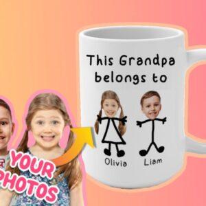 Custom Grandfather Mug This Grandpa Belongs to Personalized Coffee Mug for Father's Day
