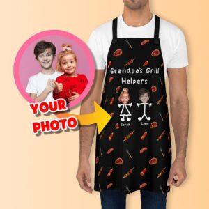 Personalized Grandpa Apron with Custom Grandkids Photo on it
