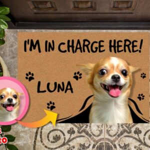 Personalized Dog Photo Doormat I'm in Charge Here